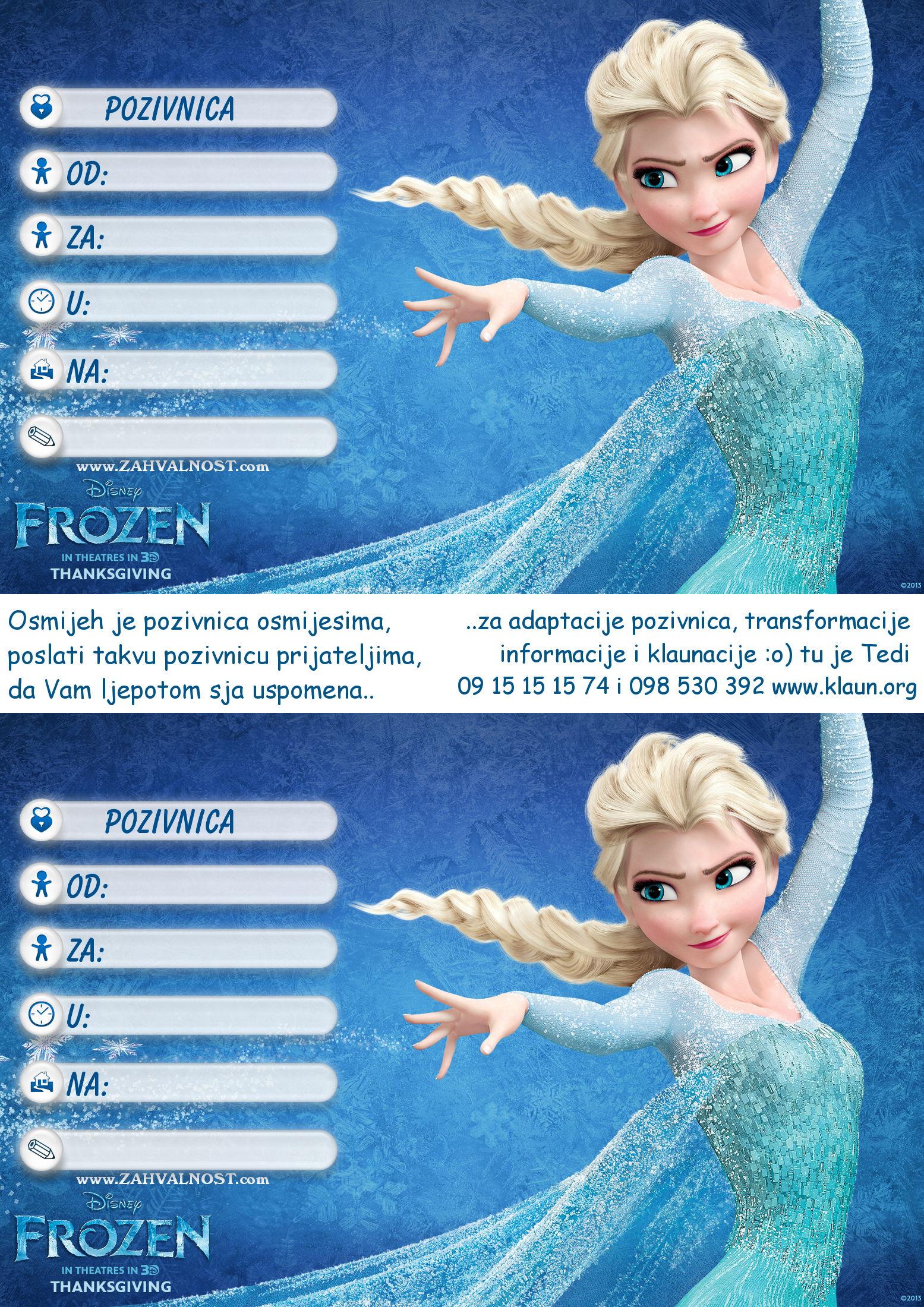slike pozivnica za rođendan Pozivnice za rođendan Frozen Snježno Kraljevstvo   Iznenađenje za  slike pozivnica za rođendan