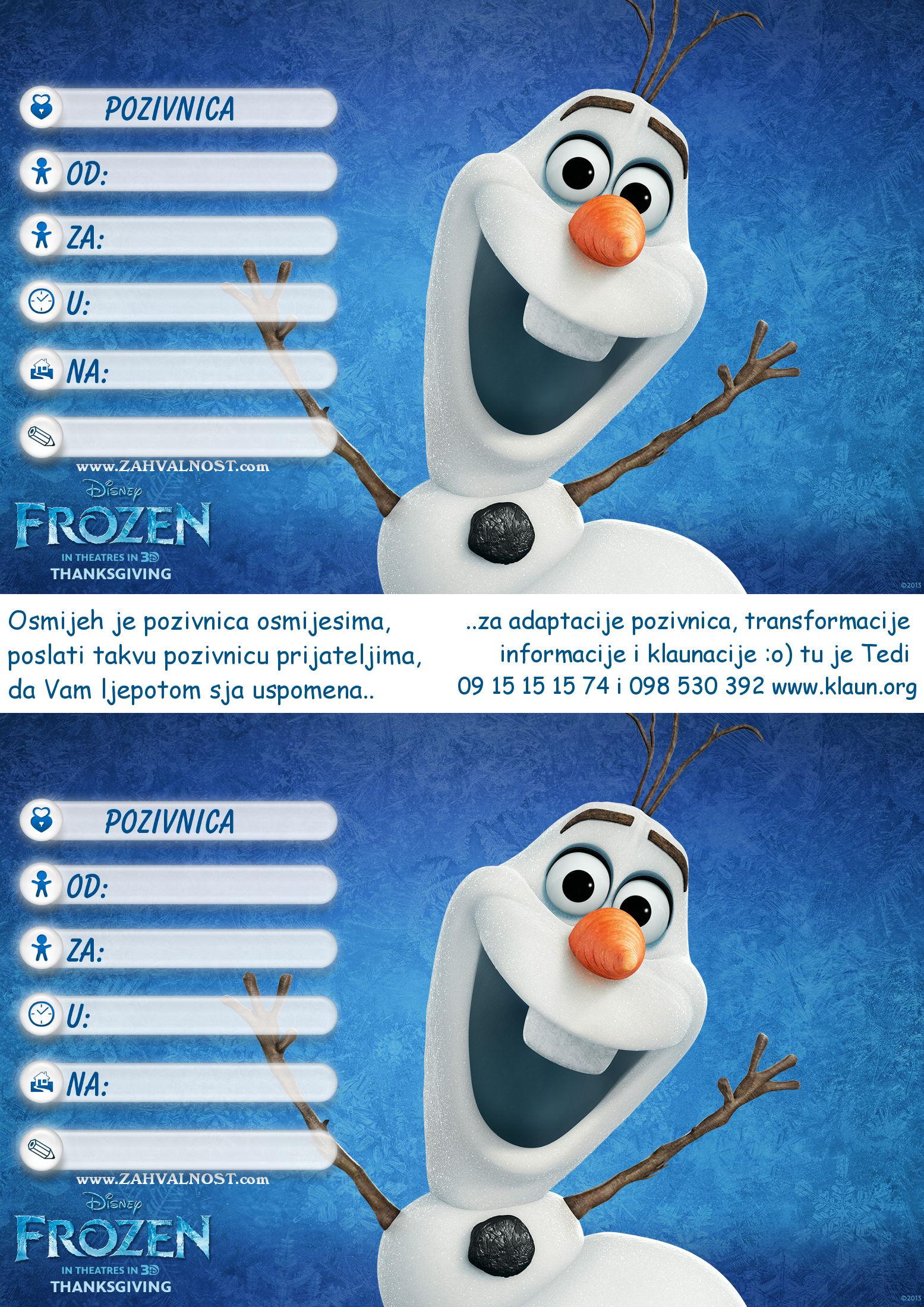 pozivnice za dječji rođendan štrumfovi Pozivnice za rođendan Frozen Snježno Kraljevstvo   Iznenađenje za  pozivnice za dječji rođendan štrumfovi
