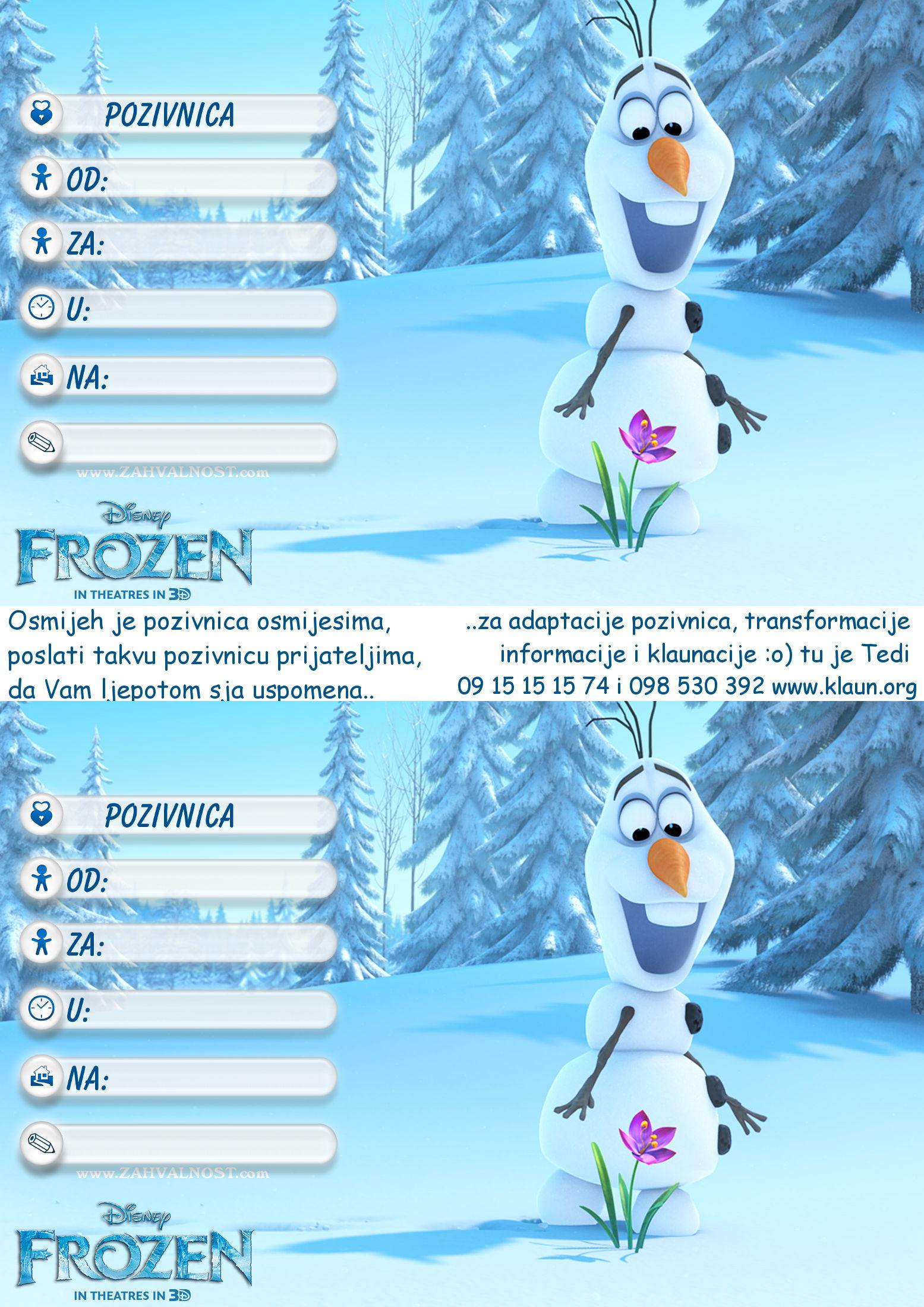 pozivnice za rođendan dječje Pozivnice za rođendan Frozen Snježno Kraljevstvo   Iznenađenje za  pozivnice za rođendan dječje