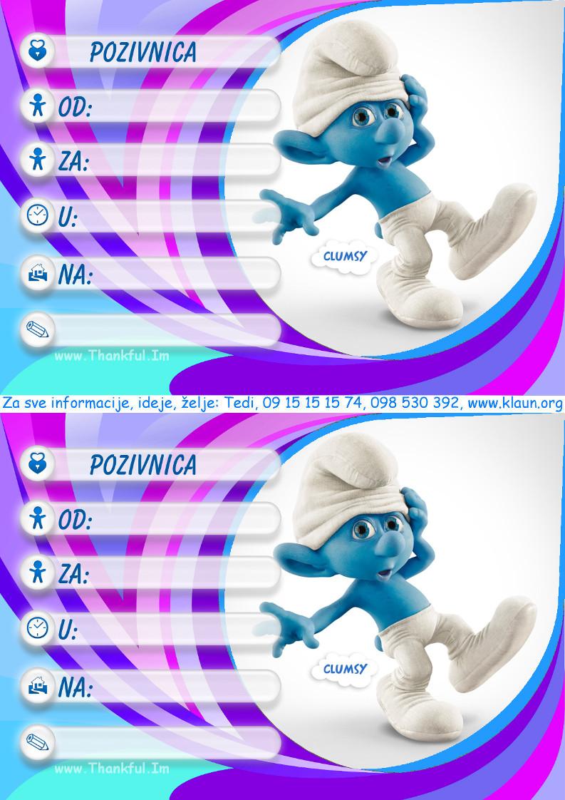 pozivnice za dječji rođendan štrumfovi dječji animatori Štrumpfovi pozivnice   Iznenađenje za rođendan ZA  pozivnice za dječji rođendan štrumfovi