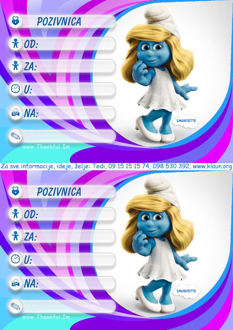 pozivnice za rođendan djecu dječji animatori Štrumpfovi pozivnice   Iznenađenje za rođendan ZA  pozivnice za rođendan djecu