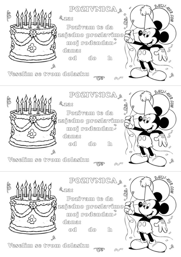 pozivnice za rođendan djecu Bojanke pozivnice za dječji rođendan   Iznenađenje za rođendan ZA  pozivnice za rođendan djecu