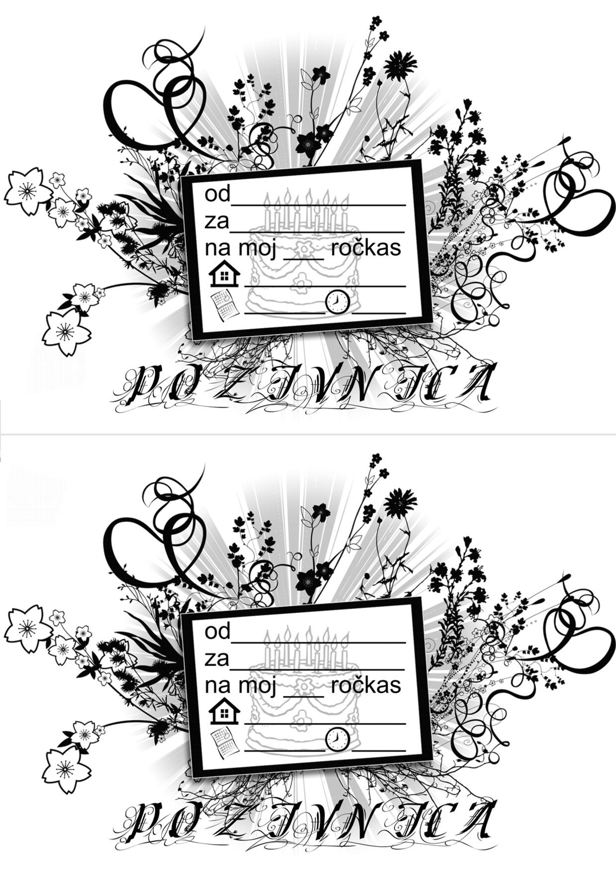 pozivnice za rođendan za djevojčice za printanje Pozivnice za rođendan print crno bijele   Iznenađenje za rođendan  pozivnice za rođendan za djevojčice za printanje