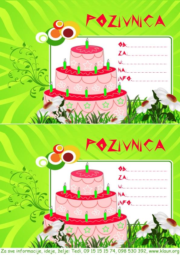 pozivnice za rođendan dječje Torta za rođendan pozivnica   Iznenađenje za rođendan ZA DJECU  pozivnice za rođendan dječje