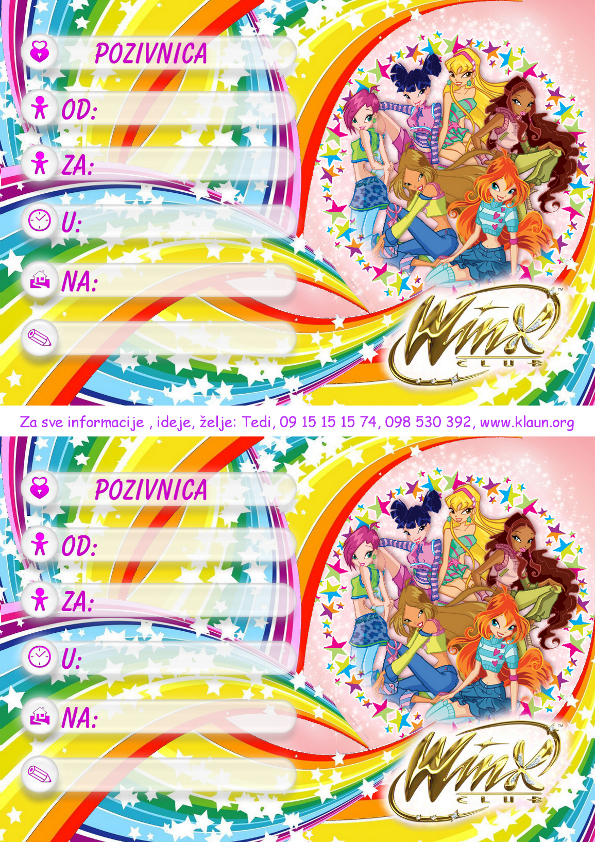 pozivnice za rođendan djecu Pozivnice za rođendan za djevojčica WINX 1   Iznenađenje za  pozivnice za rođendan djecu